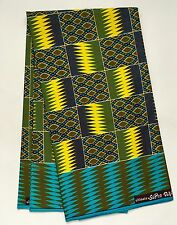 African Fabric, Ankara - Blue, Yellow 'Queen Mother' Kente, YARD or WHOLESALE
