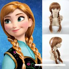 "27"" Adult Wigs Disney Frozen Princess Anna Elsa Gold Brown White Cosplay Costume"