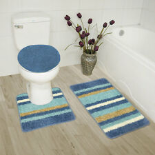 Abby 3 Piece Bathroom Rug Set, Bath Rug, Contour Rug, Lid Cover, Stripe Lt Blue