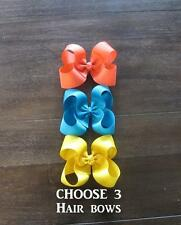 Classic Hair Bows, Boutique hairbows, Lot Set of 3 Bows, Bow Lot, Girls Bows 4""
