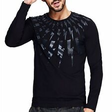 Slim Mens Floral Round Neck Long Sleeve Fitted T-shirt  Basic Tee Shirt M to XXL