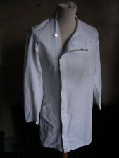 Vintage French work wear lab duster white cotton long coat jacket
