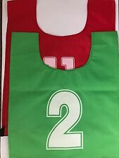 FOOTBALL TRAINING BIBS 34 CHEST QUALITY FOOTBALL RED & GREEN NUMBERED 2 TO 11