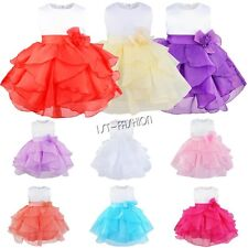 Flower Girl Infant Baby Organza Tutu Wedding Bridemaid Birthday Baptism Dress