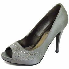 LADIES PEWTER SLIP-ON SATIN COURT PEEP-TOE BRIDESMAID EVENING PROM SHOES UK 3-8