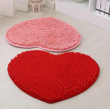 Heart Shape Love Chenille Door Mat Carpet Rug Bedroom Bathroom Fluffy Floor Pad