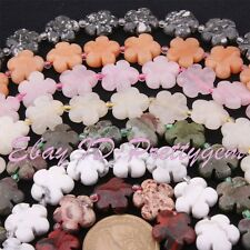 """15mm Coin Flower Shape Natural Gemstone Beads Strand 15"""" For DIY Jewelry Making"""