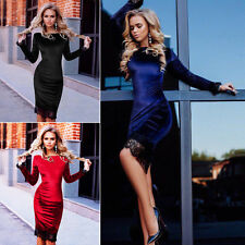 Spring Womens Bodycon Formal Wedding Lace Dress Velvet Long Sleeve Party Dress