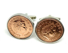 Wedding Anniversary Cufflinks. Genuine polished 1p coin from your Wedding year