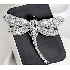 Women Party Dragonfly Crystal Rhinestone Scarf Collar Pin Brooch Jewelry Gift