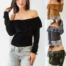 Vogue Sexy Lady Off Shoulder Ruffles Long Sleeve Blouse Warm T-shirt Sweater Top