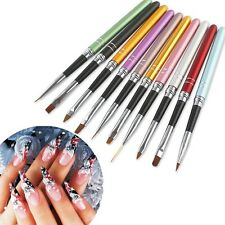 10Pcs Nail Art Tool Painting Brush Set Colorful Metal UV Gel Design Polish Q44