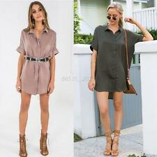 Women Long Sleeve Button Down Blouse OL T-Shirt Casual Ladies Loose Dress Tops