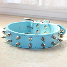 7 Colours Leather 2 Rows Spiked Studded Dog Collar Dog Pitbull Terrier Size S M