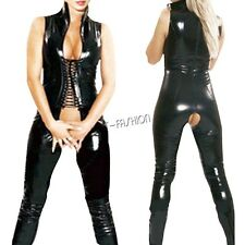 Sexy Womens Lingerie Black PVC Leather Open Crotch Jumpsuit Bodysuit Clubwear