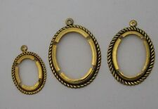 Gold Plated Antique Rope Edge Dangle Setting 18x13 25x18 30x22mm Oval Cabochon