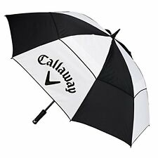 "CALLAWAY GOLF UMBRELLA 60"" CLEAN LOGO DOUBLE CANOPY BLACK/WHITE NEW 2017"