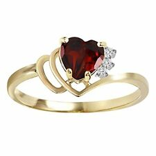 14k Solid Gold Ring with Natural Diamonds and Garnet