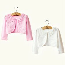 New Floral Lace Bolero Little Girls Long Sleeve Shrug Stretch Top Girls Cardigan