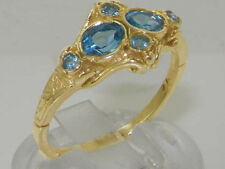 Solid 9ct Yellow Gold Natural Blue Topaz Vintage style Band Ring