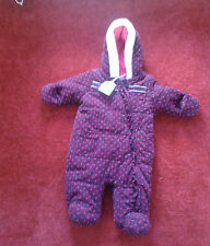 Girls Quilted Hooded Spotty Purple Snowsuit & Mittens Newborn Up To 1 Month