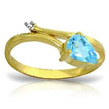 14k Solid Gold Ring with Natural Diamond and Pear-shaped Blue Topaz