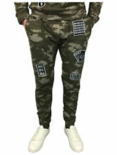 King Kouture Mens Camo Badges Slim Fit Joggers in Khaki Camouflage
