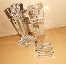 LENOX OVATIONS CRYSTAL CANDLE HOLDERS, ART DECO STYLE