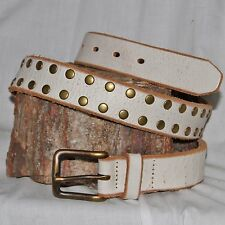 "J.Crew white Leather brass studded Belt M 32 & 1¼"" Wide with brass buckle"