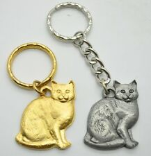 RAWCLIFFE Fine Pewter 1984 Cat I LOVE MY TABBY Key Chain Love Kitty