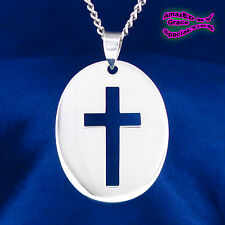 Lg. Oval Open Cross Pendant in SOLID 925 Sterling Silver - NEW - Price REDUCED!