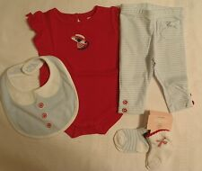 GYMBOREE 0-3 Month Venice Sweetie Bodysuit Striped Pant Bib Socks Outfit Set NWT
