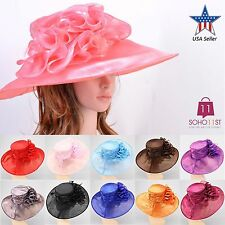 New Women Church Kentucky Derby Hat Organza Dress Hat Wide Brim - H1709/ H1324