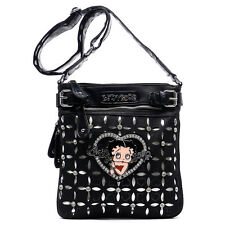 Betty Boop bling cross-body bag messenger shoulder Rhinestone dual layer pouch