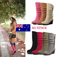 AU Stock Women Zipper Slip on Suede Round Toe Chunky Block Mid Calf Wedge Boots