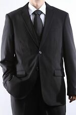 MENS 2 BUTTON SUPER 150S EXTRA FINE 3 PCS VESTED BLACK DRESS SUIT,SML-69612V-BLK