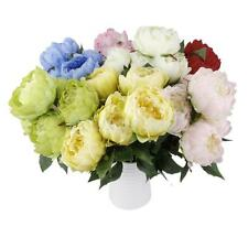 Vintage Artificial 5 Heads Wedding Silk Fake Flower Peony Bouquet Decor 7 Color