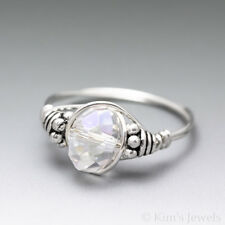 White Angel Aura Quartz Faceted Bali Sterling Silver Wire Wrapped Bead Ring