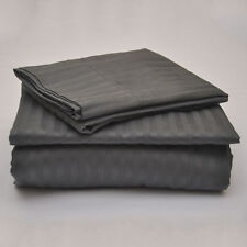 Dark Grey Stripe 100% Egyptian Cotton 1000 TC 35 Cm Drop 6 PCs Sheet Set