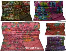 Indian Handmade Reversible Floral Throw Kantha Quilt Bedspread Twin Size Blanket