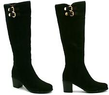 WOMENS BLACK SUEDE MID HEEL ZIP UP RIDING KNEE HIGH BOOTS SHOES SIZE