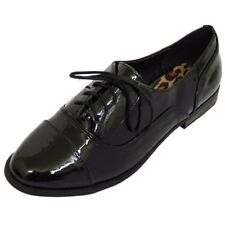 LADIES GIRLS PATENT FLAT BLACK LACE-UP OXFORD BROGUE WORK SCHOOL SHOES SIZE 3-8