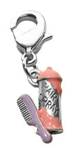 Hair Spray & Comb Charm Dangle in Silver Whimsical Gifts 3131S