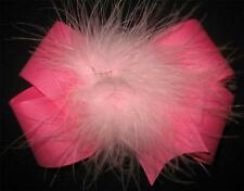 Girl Toddler Boutique Hair Bow Marabou Puff Pink 2 tone Feather Hairbow Birthday