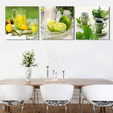 Framed 3 Pcs Modern Wall Art Fruits Lemon Home Decoration Canvas Prints Painting