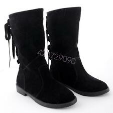 NEW Womens Low Heel Mid-Calf Boots Shoes Lace Up Vintage Style AU Size YDXS1886
