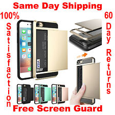 For iPhone 6 6S 7 Plus Armor Case w/ Card Holder Slot Wallet ID Protective Cover