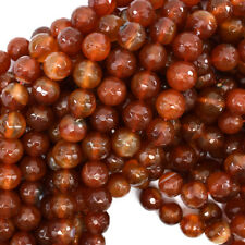 """Faceted Red Carnelian Round Beads Gemstone 14"""" Strand S1 6mm 8mm 10mm 12mm"""