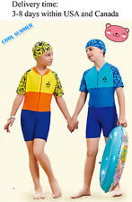 Y0327 one piece Beach swimsuit for boys and girls-Rash guard swimsuit with cap