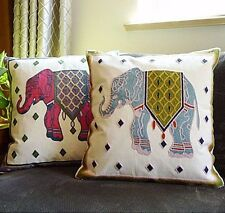 2PCs Animal Throw pillow covers 18''X18'' Cushion Cover Set Embroidered Elephant